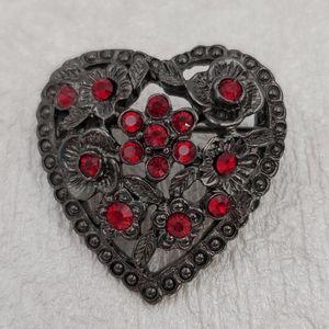 Gunmetal Heart with Red Rhinestones Brooch